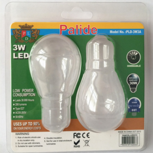 Transparent clamshell packaging light bulb